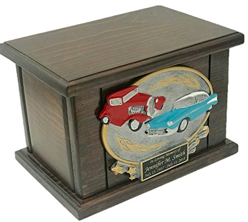 NWA Car Lovers Cremation Urn, Wood Urn, Car Urn, Wooden Funeral Urn, Classic Cars Urn with Engraving