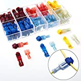 AIRIC 120pcs T-Tap Wire splice Connectors Tap In Crimp Quick Splice Self-stripping with Nylon Fully Insulated Male Quick Disconnects Kit