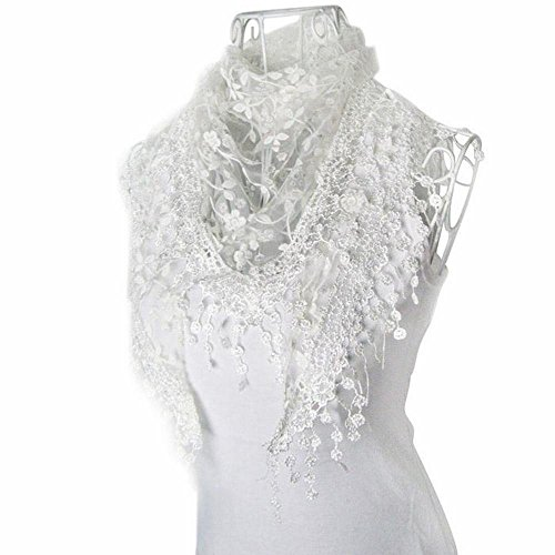Bolayu Fashion Lace Tassel Sheer Burntout Floral Print Triangle Mantilla Scarf Shawl (White) (Lace Tassel)