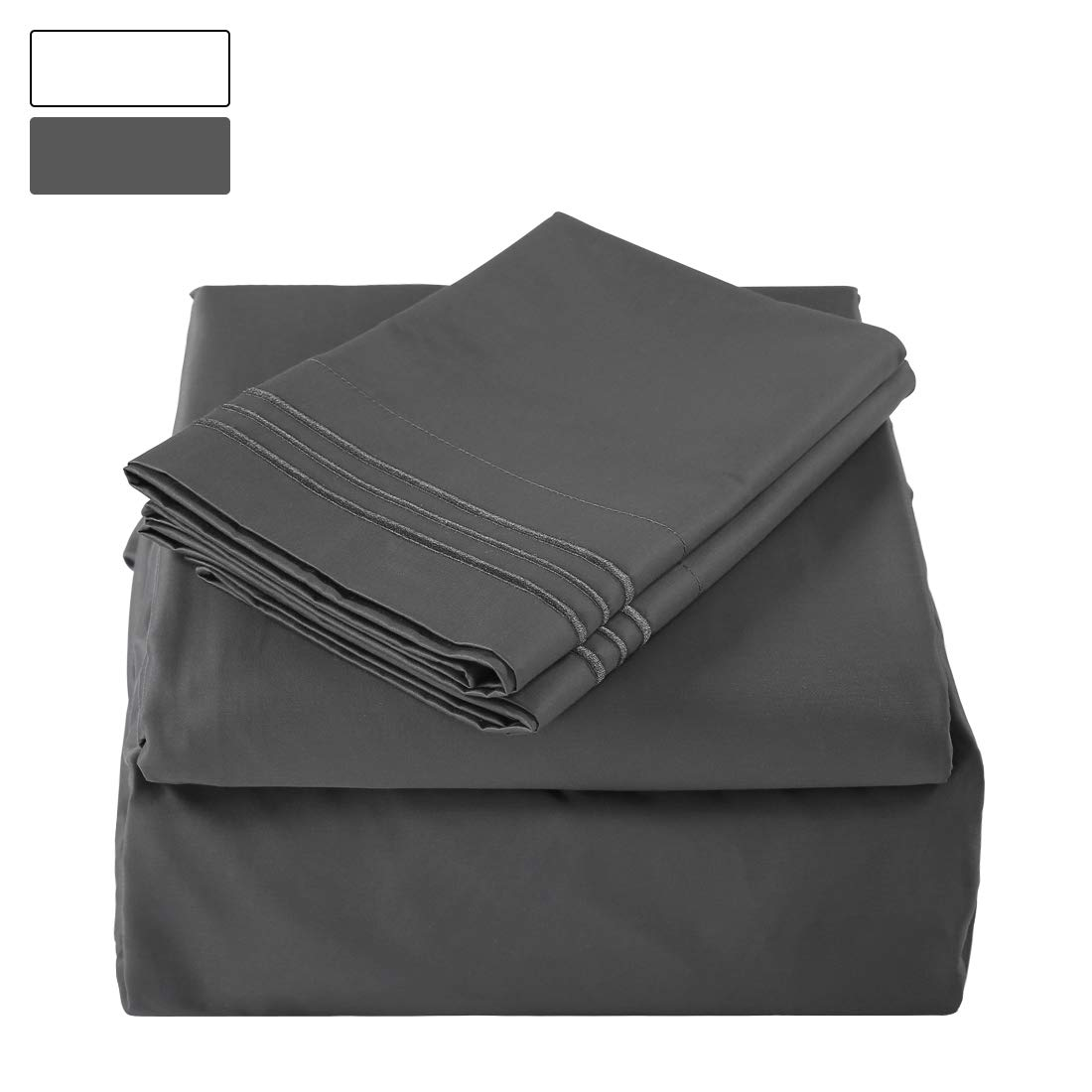 BALICHUN 100% Pure Natural Cotton Hotel Luxury Super Soft 1000 Thread Count Premium Bed Sheets Set,12-Inch Deep Pockets, Hypoallergenic, Wrinkle & Fade Resistant Bedding Set-4 Piece (Darkgrey, Queen)