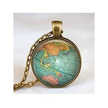 Globe Jewelry, colgante de bola vintage, colgante de globo de arte, aventurero de viaje, joyería de globo de mapa del mundo