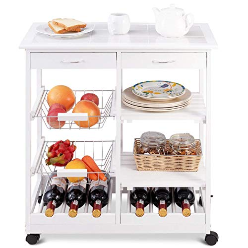 Giantex Rolling Wood Kitchen Trolley Cart Island Shelf w/Storage Drawers Baskets Dining Portable Stand (White)