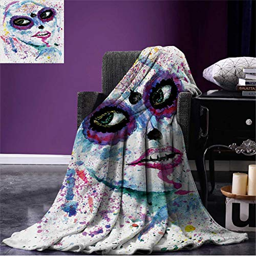 Anniutwo Girls Wearable Blanket Grunge Halloween Lady with Sugar Skull Make Up Creepy Dead Face Gothic Woman Artsy All Weather Blue Purple W60 x L50 -