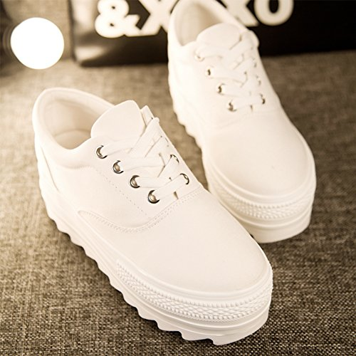 Pp Mode Wiggen Damesschoenen Lace-up Mode Platform Sneakers Wit