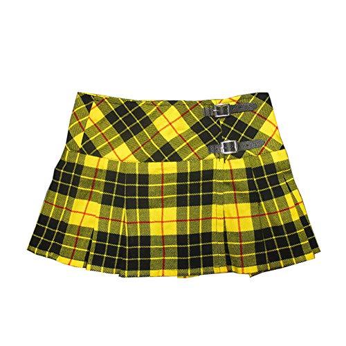 Viper London Ladies' Yellow Tartan 13 Inch Pleated Mini Skirt/Micro Mini Kilt - US 12