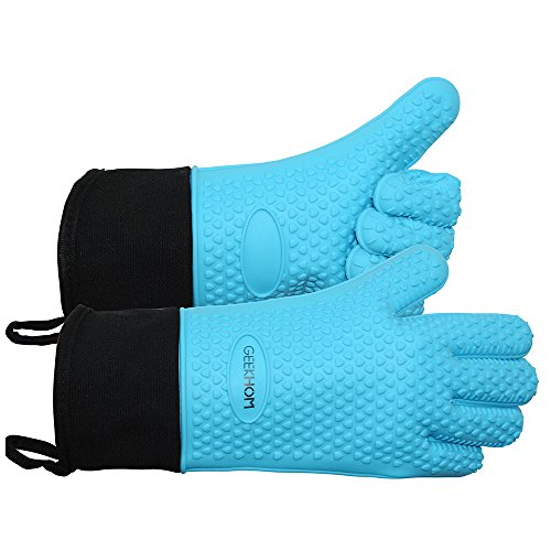 New GEEKHOM Grilling Gloves, Heat Resistant Gloves BBQ Kitchen Silicone Oven Mitts, Long Waterproof ...