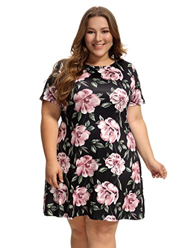 OEUVRE Women's Floral Tunic Shift Short Sleeve Jersey Plus Size Casual Dress Black (Floral Shift)