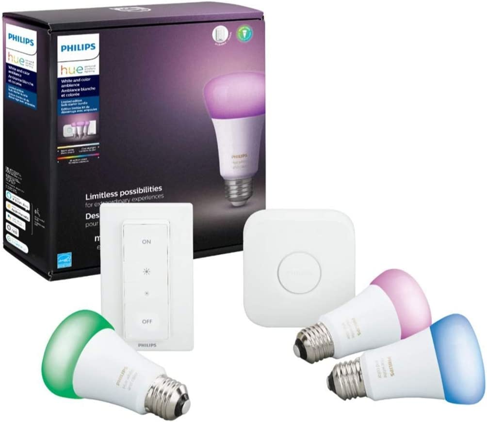 Philips Hue MAIN-54158 White & Color Ambiance LED Starter Kit-3 Multicolor A19 Bulbs, Bridge and Hue Dimmer Switch (Gen 3-Richer Colors), Multi