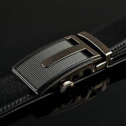 Mens Comfort Genuine Leather Dress Belt Ratchet Click Belts for Men Automatic Buckle