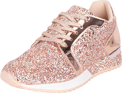 Cambridge Select Women's Low Top Glitter Encrusted Lace-Up Casual Sport Fashion Sneaker,9 M US,Rose Gold Glitter ()