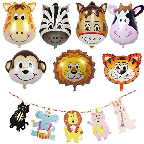 Safari Theme Baby Shower (Yunko 22 Pcs Animals Theme Party Decoration, Balloons and Banners Set For Baby Shower)