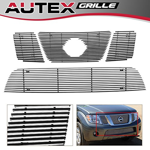 - AUTEX Aluminum Horizontal Billet Grille Insert Compatible With Nissan Armada 2008 2009 2010 2011 2012 2013 2014 Grill Combo Main Upper + Lower Bumper Grill Insert N67779A