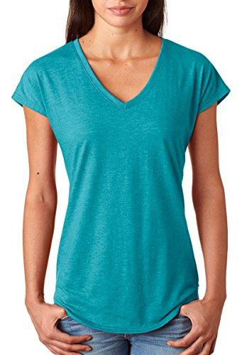 Anvil Ladies' Tri-Blend V-Neck T-Shirt, Hthr Galapagos Blue, - Tri Sale Tops Women's