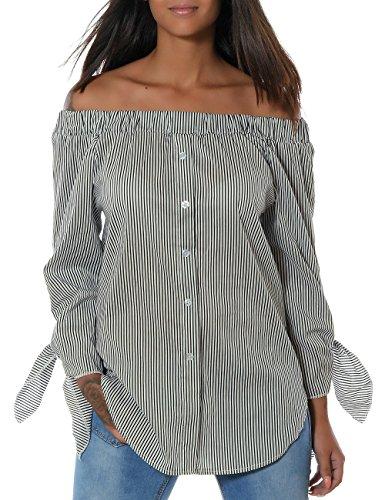 Damen Casual Hemd Trachten-Bluse Top Oberteil Gestreift Schulterfrei (weitere Farben) No 14104, Farbe:Schwarz;Größe:One Size