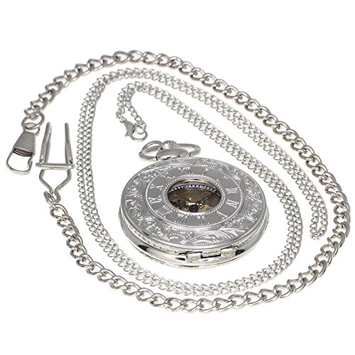 Silver-Vintage-Antique-Case-Pocket-Watch-Fob-Watch-for-Men-Women-Girls-Boys-Gifting-Occasion-With-1-PC-Necklace-Chain-1-PC-Clip-Key-Rib-Chain