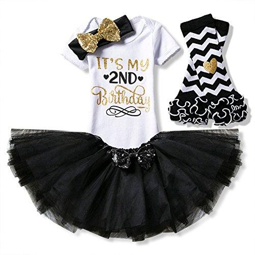 HotDresses Newborn It's My Half 1st /2nd Birthday 4 Pcs Outfits Romper+Skirt+Headband(+Leggings) (Black, 2 Years) ()