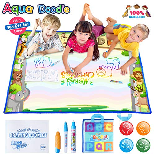 Large AquaDoodle Mat - Portable Magic Aqua Doodle Water Doodle Drawing Mat Pad with 3 Water Pens and Drawing Booklet, Kids Educational Travel Toys Gift for Boy Girl Toddlers Age 1- 6, 36.6 X 25.6 Inch by JVIGUE