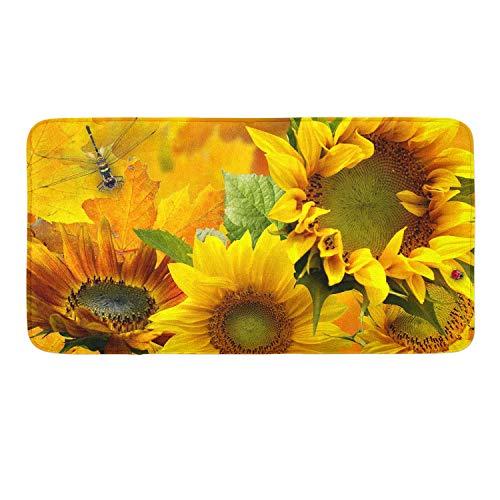 Yellow Sunflower Memory Foam Bath Rugs Kitchen Mat Anti-Slip Bottom Doormat Rug Carpet, Home Decor Shower Mat Bathtub Rug - 18 x 36