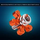 Qiilu Motorcycle Universal CNC Aluminium Machined Clutch Cable Wire Adjuster Screw(Orange)