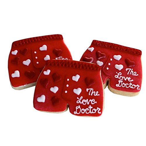 decorated Valentine cookies - ½ Dz. Love Doctor Mens Boxers Cookies