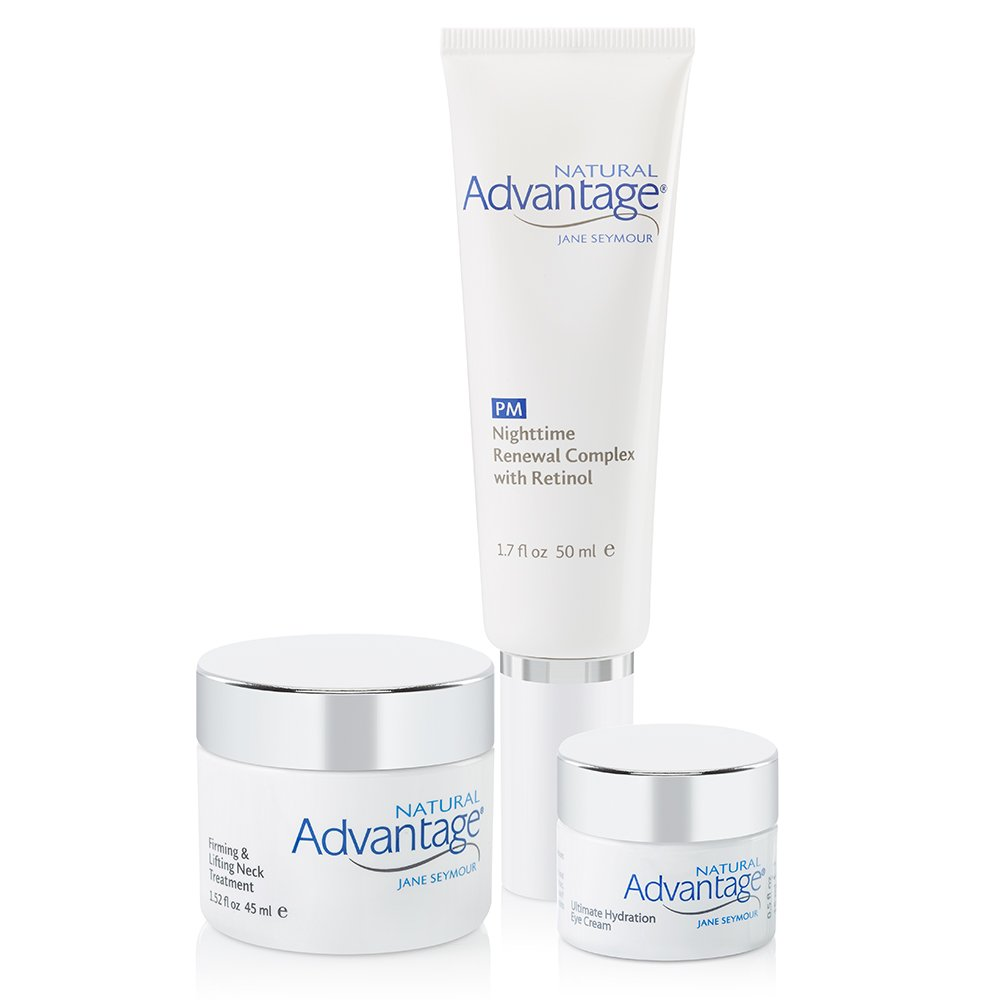 Targeted Treatment Bundle – Firming and Lifting Neck Treatment – Nighttime Renewal Complex with Retinol – Ultimate Hydration Eye Cream – Natural Advantage by Jane Seymour