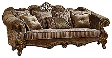 Meridian Furniture 656 S Stefania Solid Wood Upholstered Sofa With  Traditional Hand Carved Designs,