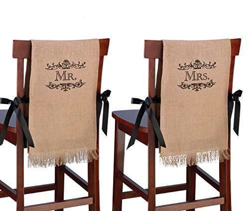 Lillian Rose Mr. and Mrs. Rustic Burlap Chair Covers Decor