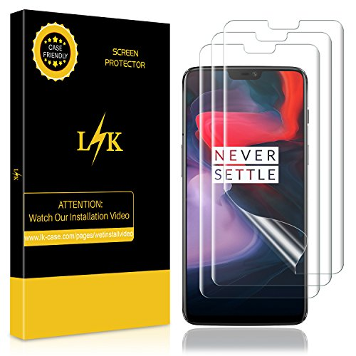 [3 Pack] LK Screen Protector for Oneplus 6, Liquid Skin [Full Coverage] [Bubble-Free] HD Clear Flexible Film with Lifetime Replacement Warranty