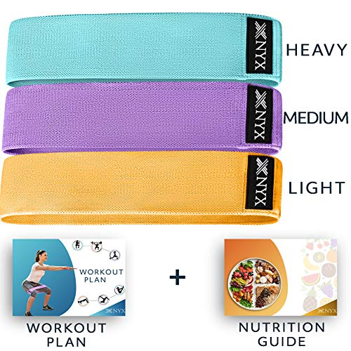 Booty Bands | Fabric Resistance Bands for Legs and Butt Exercise | Set of 3 Non Slip Hip Band | Fitness Bands | Cotton and Rubber Fabric | Workout Bands | Elastic Bands for Exercise