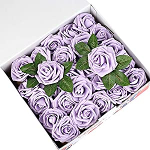 Febou Artificial Flowers, 50 pcs Real Touch Artificial Foam Roses Decoration DIY for Wedding Bridesmaid Bridal Bouquets Centerpieces, Party Decoration, Home Office Decor (Standard Type, Light Purple) 21