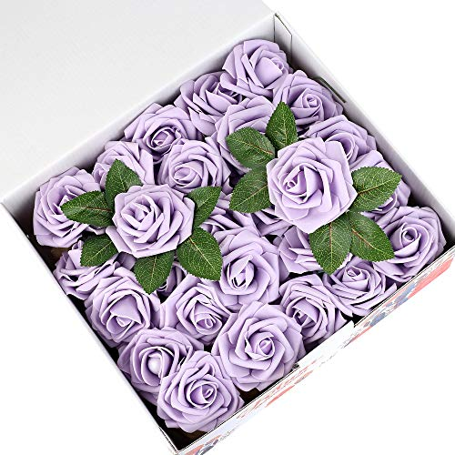 Febou Artificial Flowers, 50 pcs Real Touch Artificial Foam Roses Decoration DIY for Wedding Bridesmaid Bridal Bouquets Centerpieces, Party Decoration, Home Office Decor (Standard Type, Light Purple)