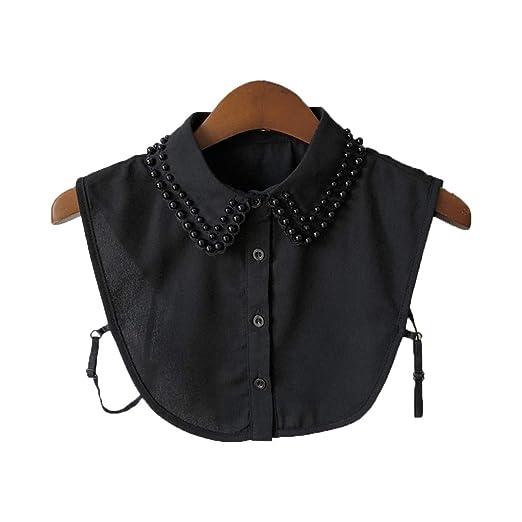 Qiuxiaoaa Mujeres Perla Camisa con Cuello de Gasa Cuello Falso ...
