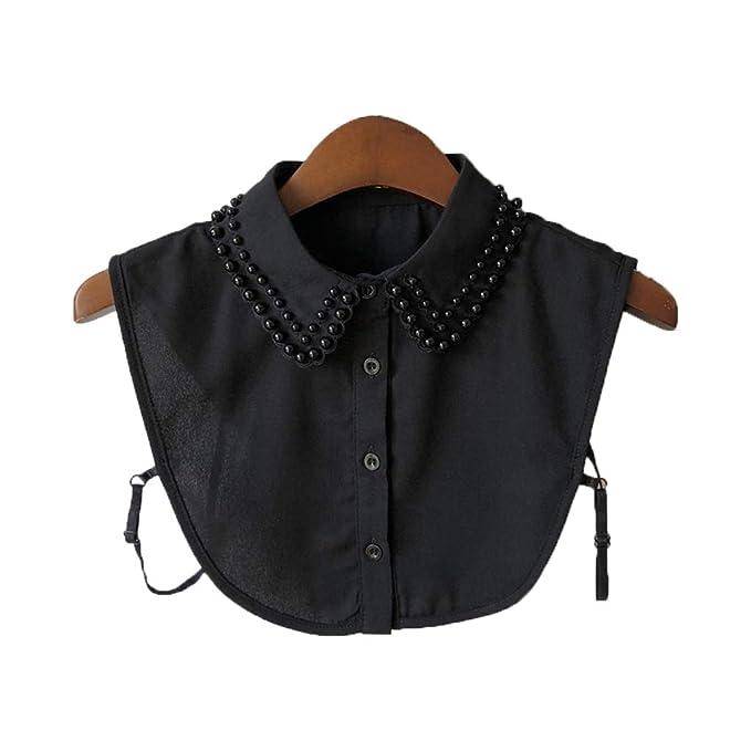 Lifet Frauen Kragen Abnehmbare Hälfte Shirt Bluse Perle Chiffon  Ganzjahresartikel (Schwarz) 9ad3a1c907