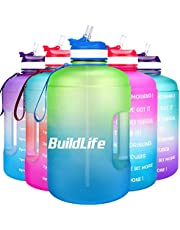 BuildLife Gallon Motivational Water Bottle Wide Mouth With Straw & Time Marked To Drink More Daily,BPA Free Reusable Gym Sports Outdoor Large Capacity