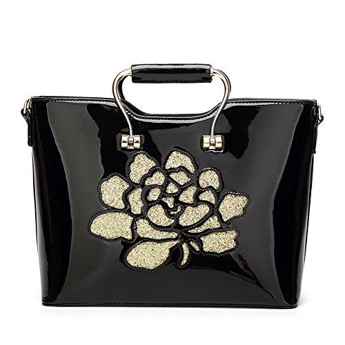 Black Handbags Bags Zipper Shoulder Agoolar Cotton Leather Women's Patent zpOpq4H
