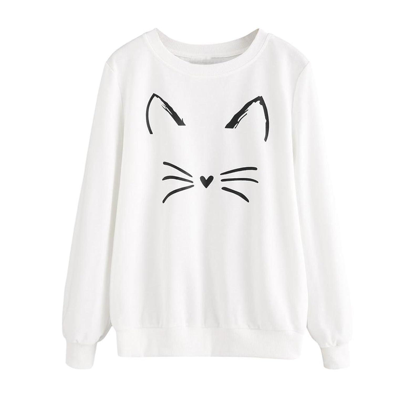 IEason Women Top, Women's Fashion Casual Long Sleeve O-Neck Cat Printing Sweatshirt Pullover Tops