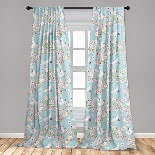Ambesonne Flowers Window Curtains, Watercolor Art Style Flying Crane Birds with Pink Sakura Cherry Blossoms Exotic, Lightweight Decorative Panels Set of 2 with Rod Pocket, 56