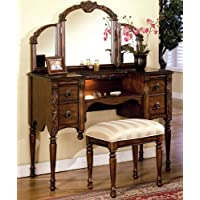 3pcs Ashton Walnut Finish Vanity Table with Stool Set