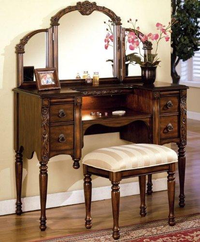 Superbe Dark Oak Finish Wood Vanity Set By Acme Furniture
