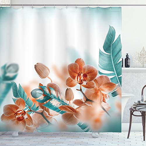 Ambesonne Tropical Shower Curtain, Tropical Orchids Blossom Leaves on Blurred Background Floral Themed Modern Art, Cloth Fabric Bathroom Decor Set with Hooks, 70 Long, Orange Teal