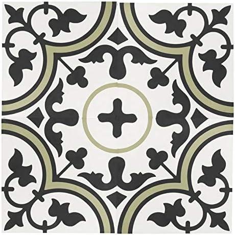 Amazon Com Mto0550 Classic 8x8 Floral Sage Green Black White Matte Cement Tile Sample Swatch Home Kitchen