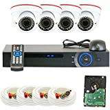 GW 4 CH 1080P Preview 720P Realtime (4) Varifocal Zoom IR Night Vision Dome Security Camera DVR System with Pre-Installed 1TB Hard Drive