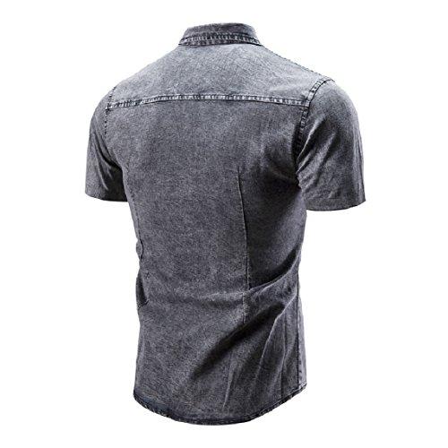 Mogogo Hommes Bouton Vers Le Bas Jean Cravate Régulière En Forme Chemise Décontractée Robe À Manches Courtes Gris Clair
