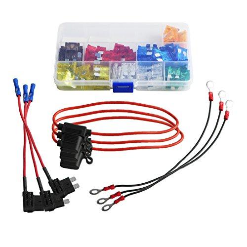 3 Wire 15 Amp Circuit (110 piece Auto Car Standard Blade Fuse Assorted 5, 7.5, 10, 15, 20, 25, 30 AMP + 3 piece Inline 16 Gauge ATC Fuse Holder + 3 piece Add-a-circuit TAP Adapter + 3 piece Earth Wire (M size))