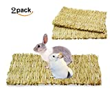 ULIGOTA Natural Woven Seagrass Mat For Rabbit Bunny Hamster Small Animal Cage,Chew Toy Bed for Guinea Pig Parrot-2 Pack