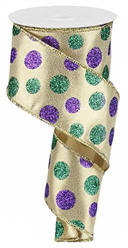 Mardi Gras Wired Edge Ribbon, 10 Yards (Glitter Dots, 2.5