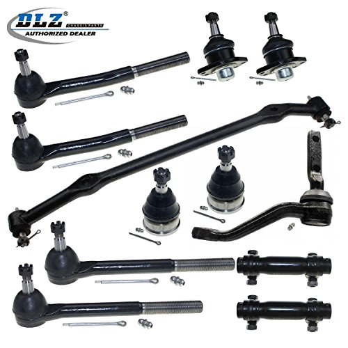 DLZ 12 Pcs Front Kit-2 Upper 2 Lower Ball Joints, 2 Inner 2 Outer Tie Rod Ends+2 Adjusting Sleeves, 1 Idler Arm, 1 Center Link for 1978-1996 Buick Electra/Estate Wagon/LeSabre, Cadillac DeVille/Impala (Chevrolet Caprice Estate Wagon)