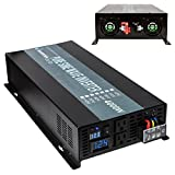 Reliable 4000W 24V 120V High Frequency LED Display Off Grid DC To AC Voltage Converter Home Power Supply True Pure Sine Wave Solar Power Inverter(Black)