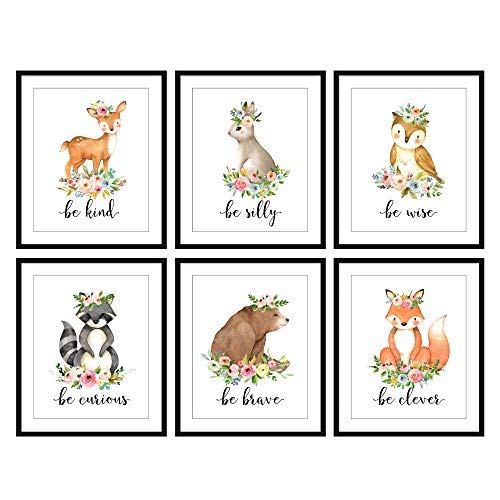Bestbuddy Pet Set of 6 8X10 Unframed Woodland Animals Deer Bunny Owl Raccoon Bear Fox with Flowers Crown Nursery Quotes Art Prints Set Kids Baby Girl Room Wall Decor BBPAP004