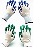 7 Pairs Pack SKYTREE Gardening Gloves, Work Gloves , Comfort Flex Coated, Breathable Nylon Shell, Nitrile Coating, Women's Medium Size, Green and Blue